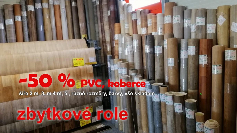 Na všech našich prodejnách na Vás čeká sleva 50% na veškeré zbytkové role PVC a koberců. Sleva Vám bude na prodejně započtena k prodejní ceně zboží.